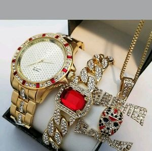 Other - MEN'S ICED OUT HIP HOP WATCH & SLAUGHTER GANG NECK